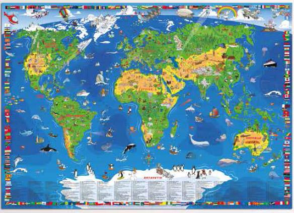 karta sveta XXL DEČIJA KARTA SVETA : Domaća Knjižara karta sveta